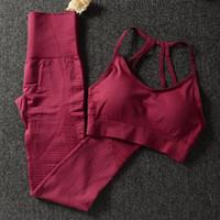 bayanlar atletik giysiler toptan satış-Gym 2 Parça Set Egzersiz Elbise Kadınlar Için Spor Sutyen Ve tozluk Kadınlar Için Set Spor Giyim Spor Giyim Atletik Yoga Set Q190521