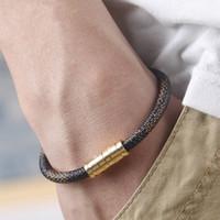 Wholesale bracelets magnets resale online - 21cm Stainless Steel Leather Bracelet Men Bracelets for Women Pulseira Masculina Magnet Man Jewelry Charm Bileklik Pulseiras