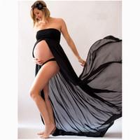 vestidos de giros al por mayor-LILIGIRL Moda Vestidos de maternidad Snow Spinning Translúcido Falda larga Ropa de maternidad Fotografía Vestidos de mujer