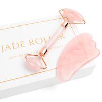 ingrosso set giada-Rullo di giada per viso, 2 in 1 set massaggiatore per rullo di giada tra cui quarzo rosa e strumento di raschiatura Gua Sha, faccia antiaderente facciale di giada