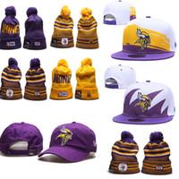 beanie viking venda por atacado-2019 gorros de inverno Minnesota Viking ajustável chapéus bordados Equipe Logo Snapback Todos Equipe Wholeasle Knit Caps quentes ao ar livre