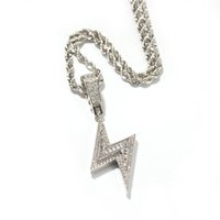 Wholesale Hip hop Men Zircon Lightning Pendant Mixed Square Zircon iced Out Rhinestone Crystal Hip Hop Necklace Chain
