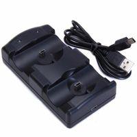ingrosso le stazioni di ricarica liberano il trasporto-Gamepad 2 in 1 Dual USB ricarica Dock caricabatterie Game Station supporto da gioco Supporto per PS3 Move Wireless Controller SPEDIZIONE GRATUITA