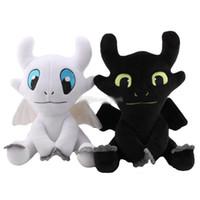siyah öfke toptan satış-25 cm 35 cm Ejderhanı 3 Peluş Oyuncak Dişsiz Işık Fury Yumuşak Beyaz siyah Ejderha Doldurulmuş Hayvanlar Doll çocu ...