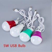 usb lâmpadas banco de energia venda por atacado-Colorido PVC 5 V 5 W USB Light Bulb portátil Lâmpada LEVOU 5730 para Caminhadas Tenda de Acampamento de Viagem trabalho Com Banco De Potência Notebook