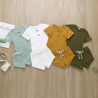 Wholesale baby army clothing resale online - Fashion Summer Newborn Baby Girls Boys Clothes Ribbed Cotton Casual Short Sleeve Tops T shirt Shorts Toddler Infant Outfit Set