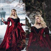 vestidos de novia medievales negros al por mayor-Gótico bella durmiente princesa medieval Borgoña y Negro vestido de novia mangas Apliques de encaje Vestidos de novia Largo