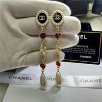 Wholesale gold statement fashion cuffs for sale - Group buy Brand Classic Crystal Letter Stud Earrings Fashion Jewelry For Women Statement Imitation Pearl Earrings Jewelry