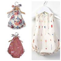 Wholesale infant linens resale online - Newborn Baby Girl Romper Hanging Neck Crawl Rompers Summer Designer Jumpsuit Sleeveless Infant Clothing Toddler Girls Boutique Outfit A2203