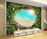 стена фантазийного цветка оптовых-2019 Новый фэнтези сказка лес сад цветок Лоза трава ТВ фон стены высокие обои