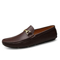 Wholesale mens casual moccasins resale online - Italian Mens Shoes Casual Brands Slip On Formal Luxury Shoes Men Loafers Moccasins Genuine Leather Brown Driving