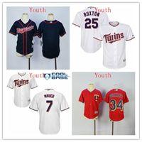 beyzbol formaları minnesota toptan satış-Minnesota Gençlik Kid Boy Kız Twins Byron Buxton Joe Mauer Kirby Puckett Beyaz Lacivert Kırmızı Beyzbol Jersey Noel Hediyesi Günümüze