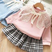 kaliteli küçük kız giyim toptan satış-Kızlar Uzun Kollu Üstleri + Ekose Etekler Çocuk Güz 2019 Çocuk Butik Giyim 1-6 T Küçük Kızlar 2 ADET Set Yüksek Kalite