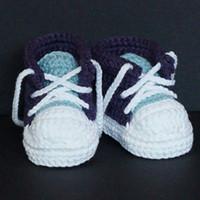 häkeln sportschuhe groihandel-QYFLYXUEHandmade Baby Jungen Crochet Sneaker Booties Baby gestrickte Sportschuhe weiche Sohle Indoor Freizeitschuhe Baumwolle