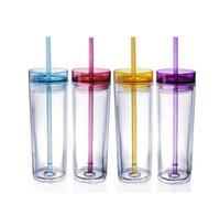 ingrosso tazza chiara doppia della parete-Bicchiere da 16 once in acrilico dritto Bicchiere alto magro 480 ml Bicchieri da tazza a doppia parete chiari con coperchio e imbottigliatore di acqua di paglia LJJA2996