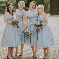 vestido de renda azul midi venda por atacado-Ice Blue Chiffon Praia Dama De Honra Vestidos Tea Length Wedding Party Vestido Lace Up Midi Vestidos Vestidos De Dama De Honra 2019