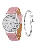 vogue quarzuhr großhandel-Damen Uhr-Mode-Math Function-Muster-Leder-Band-Legierung Analog Quarz Mode Frauen Uhren Luxus-Armbanduhr