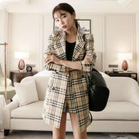 ingrosso giacca lunga formale da donna-Pantaloni corti autunnali coreani abiti da donna OL Set due pezzi Cappotto blazer lungo a doppio petto e pantaloncini scozzesi
