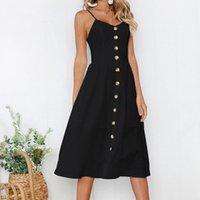 schöne sexy lässige kleider großhandel-Button Striped Print Casual Sommerkleid Nizza Sexy Spaghetti Strap V-Ausschnitt Schulterfrei Frauen Midi Kleid Cgu 88