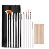 tırnağara sanat fırçaları araçları nokta toptan satış-Nail Art Matkap kalem Fırçalar Set 20 adet Süsleyen Boyama Çizim Şerit Çiçek Lehçe Kalem DTY Manikür Nail Art Aracı LJJT395