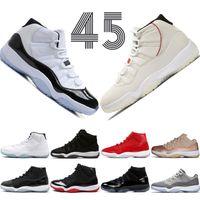 gece elbiseleri erkekler toptan satış-11 11 s Platinum Tonu Concord 45 Cap ve Cüppe Erkekler Basketbol Ayakkabı Balo Gece Spor Salonu Kırmızı Bred Barons Uzay Sıkışmaları mens spor sneakers tasarımcı