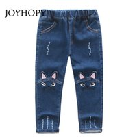 Wholesale baby jeans pattern for sale - Group buy Cute Cartoon Pattern Kids Jeans Spring Autumn Winter Lovely Cat High Quality Children Pants Casual trouses Baby Girls