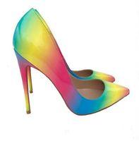 gökkuşağı ayakkabıları topuklu ayakkabı toptan satış-Gökkuşağı Kırmızı Alt Yüksek Topuklu Renkli Gökkuşağı Baskılı Sivri Burun Stiletto Yüksek Topuklu Kadın Bayan Kadın 12 cm 10 cm 8 cm Yüksek Topuk Ayakkabı Pompa