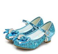 Wholesale children blue princess shoes for sale - Group buy New Princess Kids Leather Shoes For Girls Flower Casual Glitter Children High Heel Girls Shoes Butterfly Knot Blue Pink Silver