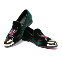 Wholesale wedding dress dragon embroidery for sale - Group buy Dragon Embroidery Handmade Men Velvet Shoes Party and Wedding Men s Flat New Casual Style Fashion Men Loafers Nightclub Shoes