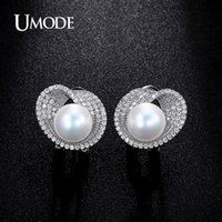 Wholesale copper clip earring for sale - Group buy Umode mm Simulated Pearl Cz Cubic Zirconia White Gold Color French Clip Stud Earrings For Women Boucles D oreilles Ue0189b T7190617
