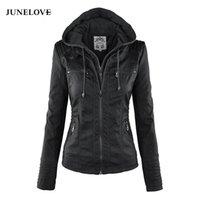 moto jacken frauen groihandel-JuneLove Frauen hoodies Winter Moto Jacke Hot Turn Down Collor Damen Oberbekleidung Kunstleder PU weibliche Jacke Mantel