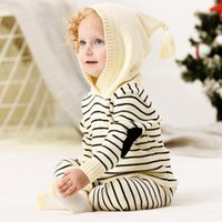 Wholesale wholesale baby girl clothes for sale - Boutique Girl Knitted Two Piece Sets Knitted Hoodies Stripped Desig Long Sleeve Pullover Top Pants Baby Girl Spring Fall Clothing sets