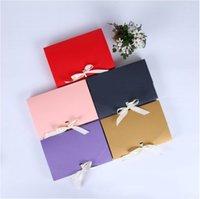 grandes cajas de regalo rosa al por mayor-Caja de papel rosa roja de 20 piezas para embalaje de regalo Caja de papel Kraft grande Fiesta de joyería Regalo de San Valentín con cinta