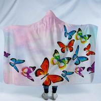 ingrosso farfalla portatile-Coperta con cappuccio in pile Coperta indossabile in pile con cappello Coperta a farfalla stampata Copricapo invernale per adulti con cappuccio Sherpa Wrap GGA2201