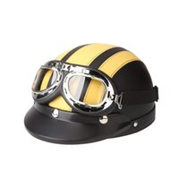 ingrosso yellow retro motorcycle helmet-Casco moto giallo Open Face Bike bicicletta casco scooter mezza pelle con visiera Goggles Retro 54-60cm