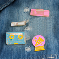 Wholesale vintage badges for sale - Group buy Cartoon Tape Recorder Pizza Ball Enamel Pin Cute Power Bottle Vintage Brooch Pins Brooches for Women Lapel Pin Badge Gift