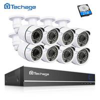 16ch hdmi cctv dvr al por mayor-Techage 16CH HDMI 1080N AHD DVR Sistema de CCTV 8PCS 2.0MP 1080P IR Cámara de seguridad para exteriores P2P Kit de vigilancia de video con vista remota