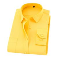 camisas comerciais amarelas venda por atacado-Chegada nova Camisa Dos Homens de Mangas Compridas Man Causal Camisas de Negócios Camisas Brancas Camisa Formal Amarelo Camisas Macias