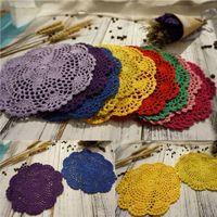 ingrosso doilies di cotone a maglia-Crochet Tabella tovagliette tovagliette per la cucina Coasters centrini Cotton Floral Design ciotola di vetro Piatto Tavolo Mats N10Z