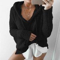 jaqueta de moletom com capuz de caxemira feminina venda por atacado-Forma-Womens cor sólida macia com capuz Hoodies pulôver Tops velo Cashmere Mistura solto capuz Mulher Vestuário Plus Size S-5XL