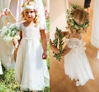 Wholesale pink lace shorts for girls resale online - Bohemia Lace Tulle A Line Flower Girls Dresses Short Sleeves Country Wedding Dresses for Kids Cute Long First Communion Dresses