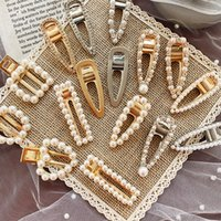 perle d'or cheveux achat en gros de-1 PC Métal Minimaliste Accessoires De Cheveux Géométrique Irrégulier Or Couleur Pince À Cheveux Imitiation Perle Épingle À Cheveux Barrettes Hairgrip