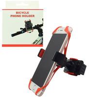 motorcycle mounting brackets toptan satış-Bisiklet Bisiklet Motosiklet Gidon Telefon Tutucular Silikon Mounts Destekler Bant 360 Derece Dönen Ayarlanabilir Telefon Parantez Smartphone Dağı