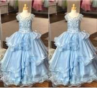Wholesale piping for wedding dress for sale - Group buy Rhinestone Beading Girls Pageant Dresses Piping Tiered Ruffles Princess For Girls Special Occasion Long Flower Girl Dress For Wedding Party