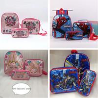 Wholesale purse case sets for sale – best Luxury Designer Backpacks Surprise Girls Unicron Kids School Shoulder Bag Cartoon Lunch Totes PVC Case Pencil Bag Coin Purse Sets B71004