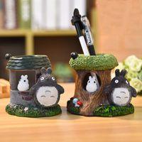 totoro dekorationen großhandel-Neue cartoon Totoro kreative stifthalter harz handwerk student geschenk desktop dekoration baum wurzel stifthalter aufbewahrungsbox