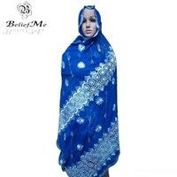 cachecóis de azul-real mulheres venda por atacado-lenço azul royal! lenços New africanos, 2017 mulheres muçulmanas bordados lenço, lenço grande bordados para xales envolve D18102406 frete grátis