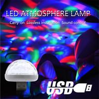 mini led ampuller dekorasyon için toptan satış-Mini LED Araba Atmosfer Işık USB Top Lamba Parti Dekorasyon Araba veya Parti Sahne için RGB Sesler Aktif Ampul DJ Aydınlatma