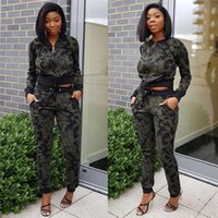Wholesale sheer yoga pants for sale - Women Casual sport Camouflage Tracksuit Army Green Suits Two Piece Set Long Sleeve Tops Pants Set Size S XL