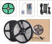 tiras led inteligentes rgb venda por atacado-150 LED Strip Lights 16.4ft, Kit de Troca de Cor RGB 5050 LEDs com Controle Remoto 44key e Fonte de Alimentação 3A com WiFi não-inteligente